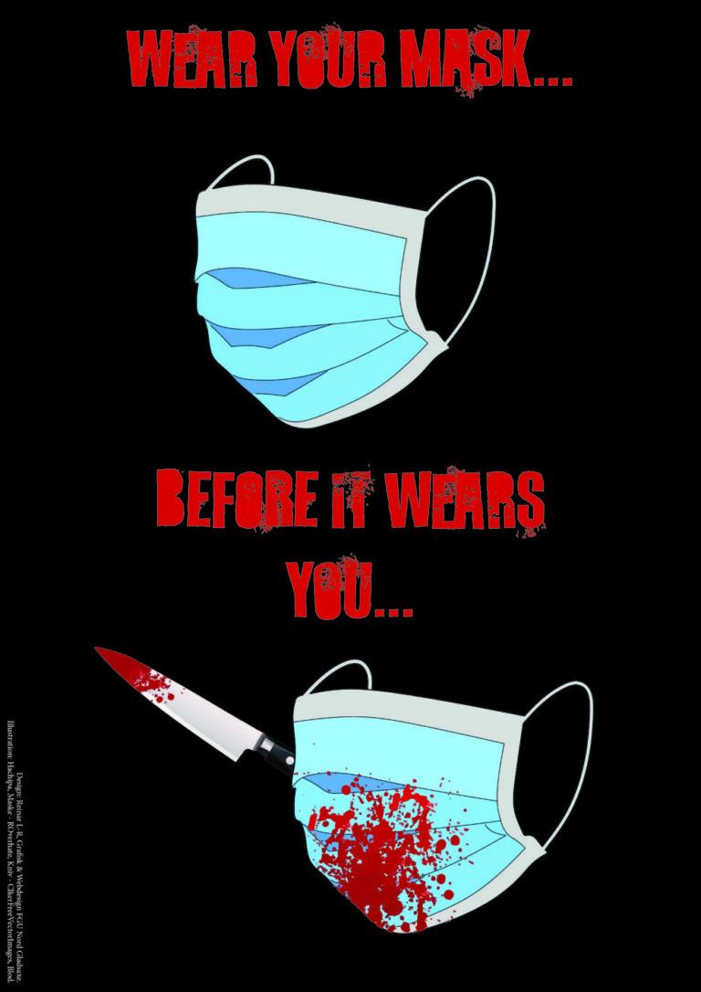Plakat designet af Reinar L.R. - Illustrationer: Hachipa (Maske) - Roverhate (Kniv) - ClkerFreeVectorImages (blod)